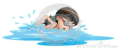 A girl swimming with goggles