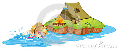 A girl swimming near an island with tent