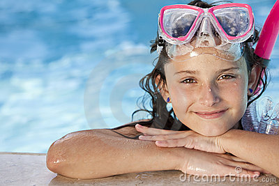 Girl In Swimming Pool with Goggles and Snorkel