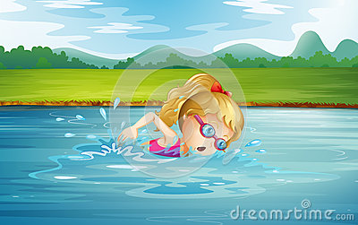 A girl swimming at the river