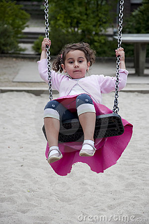 Girl is swinging