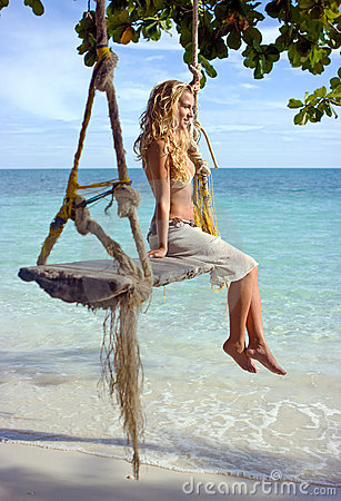 Girl on swings