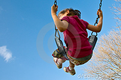 Girl swings into sky