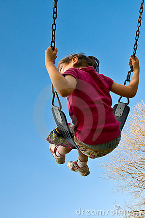 Girl swings into sky