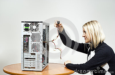 Girl with the system unit