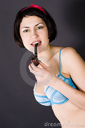 Girl with tabacco-pipe
