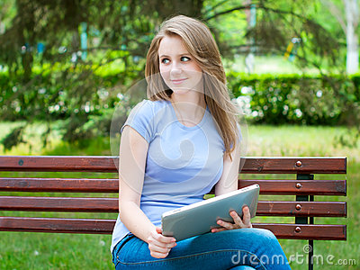 Girl With Tablet Pc Royalty Free Stock Image - Image: 24676866