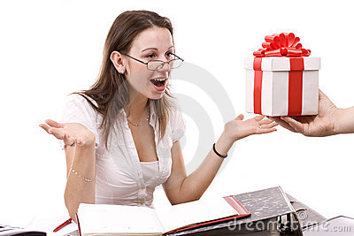 Girl take a gift