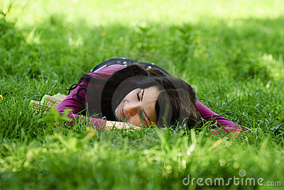 Girl take pleasure and rest on