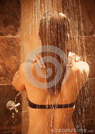 Free Girl Take Shower Outdoor Royalty Free Stock Image - 30517356
