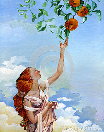 Free Girl Takes Oranges From The Sky Stock Photo - 42576800