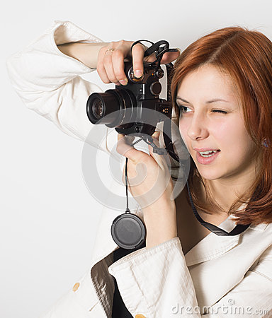 Girl takes a photo