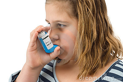 Girl Taking Inhaler