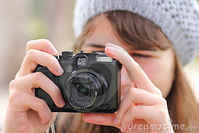 Girl taking photo