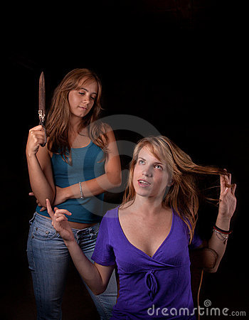 Girl talking with hair-stylist