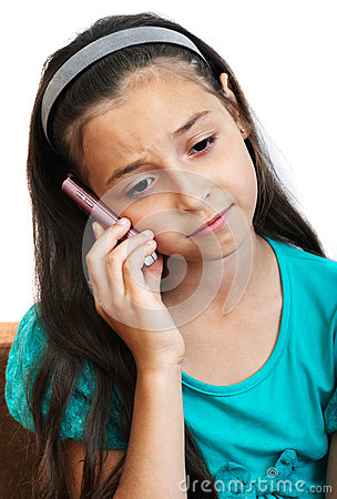 The girl is talking by phone