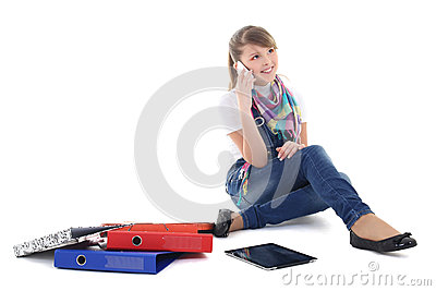 Girl talking on the phone over white
