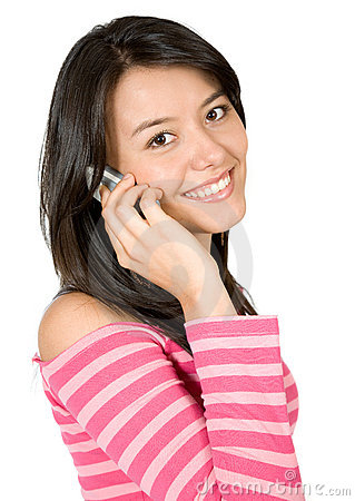 Girl talking on the phone in pink