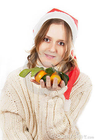 The girl with tangerines