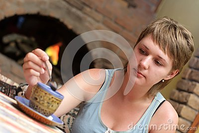 Girl In Tearoom Royalty Free Stock Images - Image: 6261519