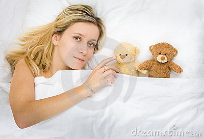 Girl and teddy bears