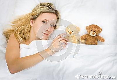 Girl and teddy bears