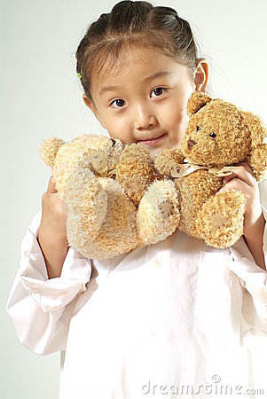 Girl with teddy bears