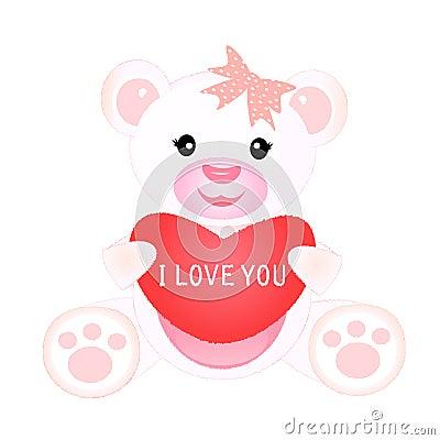 Girl teddy with heart