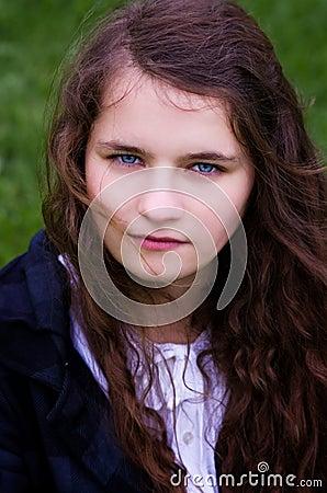 Girl teen outdoors closeup