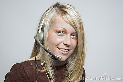 Girl with telephone headset