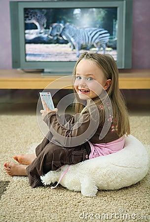 Girl at Television