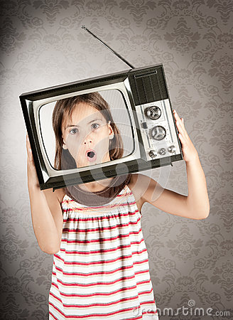 Girl with television on her head