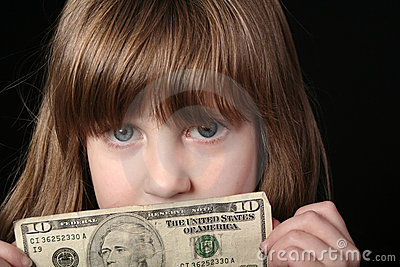 Girl with ten dollar bill