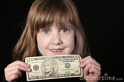 Girl with ten dollars
