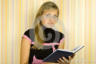 Girl with textbook