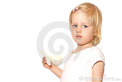 Girl toddler in white vest