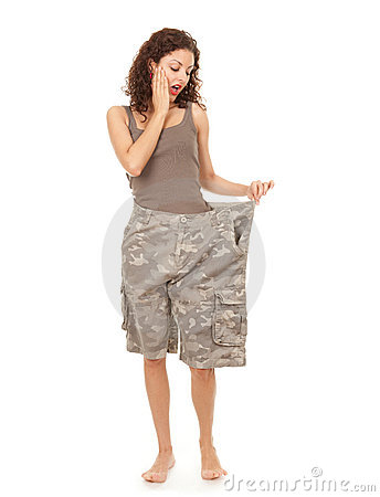 Girl in too great camouflage trousers