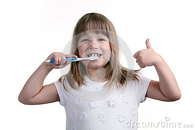The girl with a toothbrush