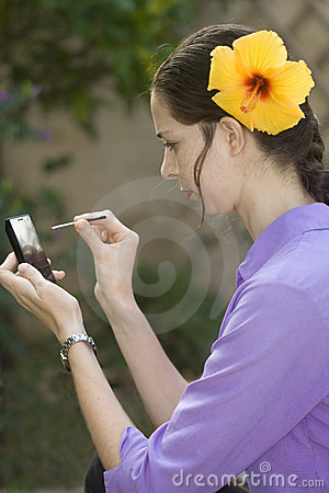 Girl with touch phone