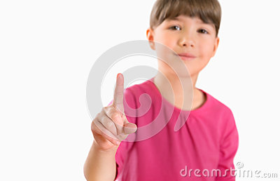 Girl touch screen isolated