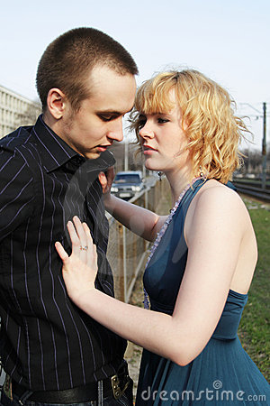 Free Girl Touches A Guy Royalty Free Stock Photography - 14420957