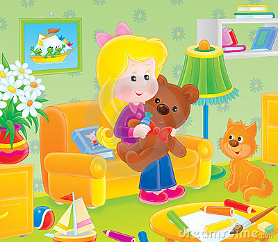 Girl with a toy bear in her nursery
