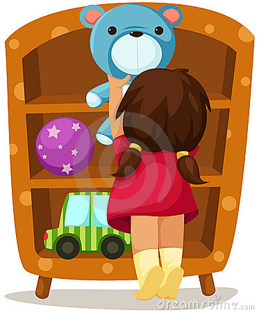 Girl with toys