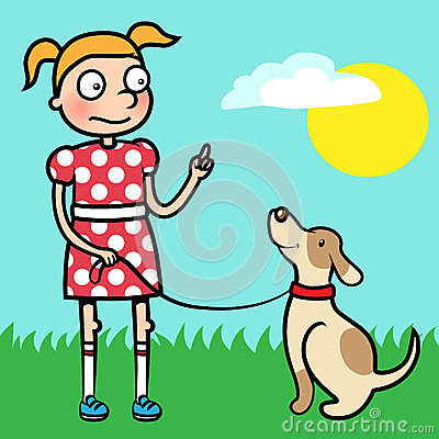 Girl training obedience with well behaved dog