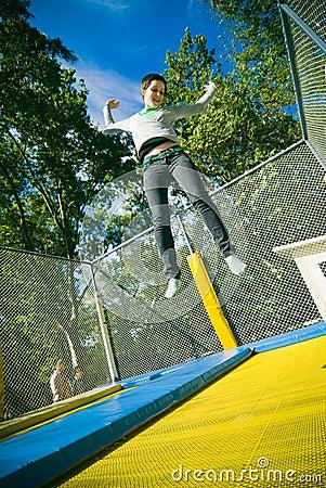 Girl on trampoline