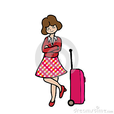 Girl And Travel Luggage Stock Vector Image 44491741