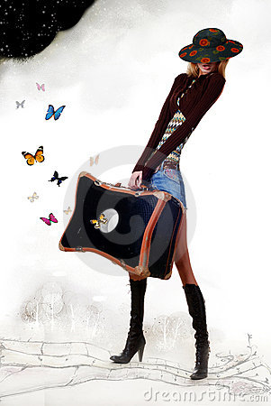 Girl with travelling bag