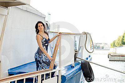 Girl travels by boat