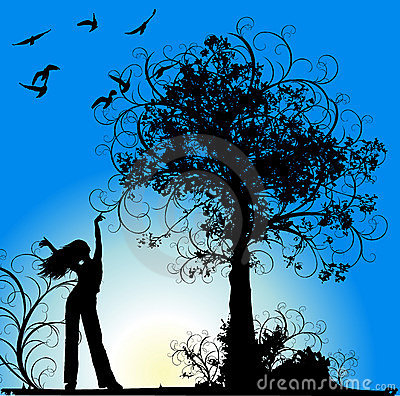 Free Girl, Tree And Birds On Blue Flowers Background Royalty Free Stock Photos - 2024898