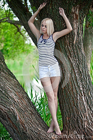 Credit Cards For Fair Credit >> The Girl On A Tree At The River Royalty Free Stock Image ...